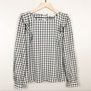 LOFT Plaid Size Small Long Sleeve Ruffle Blouse